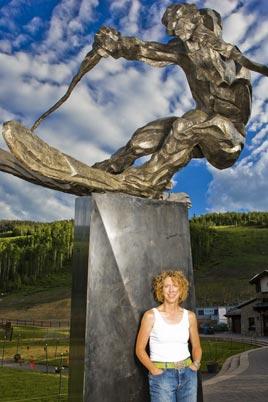 Large bronze skier monument